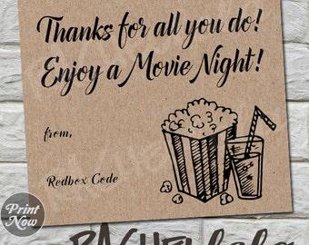 Kraft thank you Redbox Code, teacher movie night gift tag, coworker last minute gift, neighbor, printable template, instant digital download