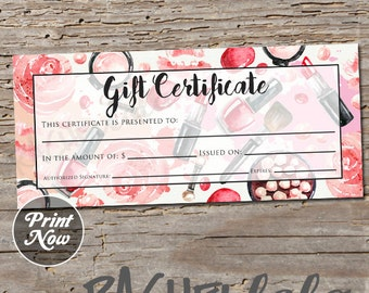 Printable Makeup Gift Certificate template, Mary kay, Avon, Voucher card, Arbonne, Salon Stylist, Mothers day, Instant digital download