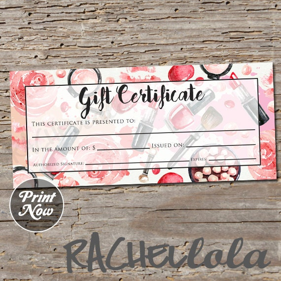 Red Makeup Printable Gift Certificate Template Spring Etsy