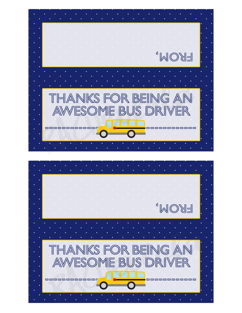 Christmas Last minute Year end Instant digital download Printable School Bus Driver Appreciation Thank you gift tag Goodie bag topper