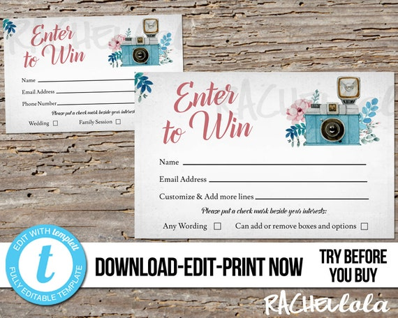 Editable Photography Raffle Ticket Template Printable Door Prize Entry Enter To Win Form Free Session Giveaway Instant Download Templett