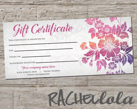 custom tropical floral printable gift certificate template spring