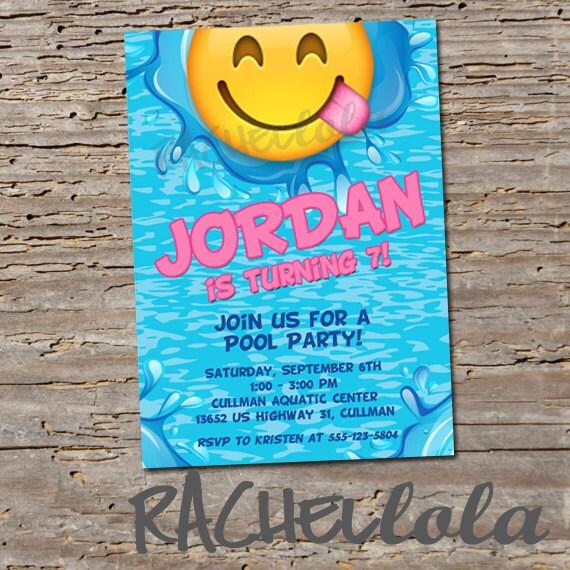 Emoji Pool Birthday Party Invitation Printable Template Lake Swim Invite Splash Pad Slip Slide Digital Download Girl Summer Pink