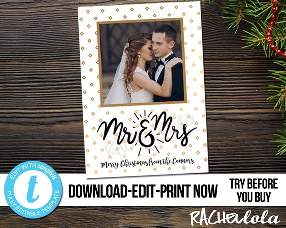 Editable Christmas Card Wedding Photo Printable Template Gold Mr Mrs Newlywed Marriage Announcement Digital Instant Download Templett