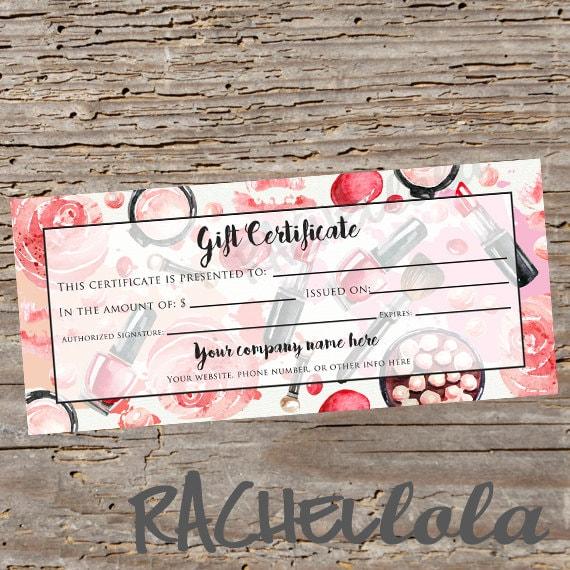custom red makeup printable gift certificate template spring