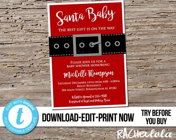 Editable Christmas Baby Shower Invitation Template Santa Baby