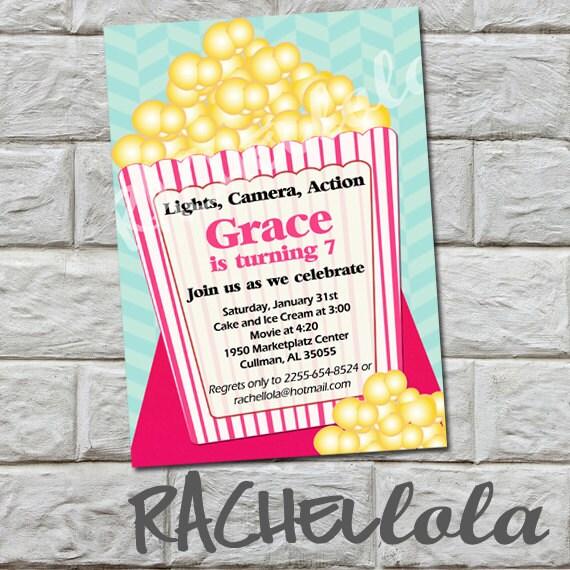Girl Movie Theater Birthday Party Invitation Pink Popcorn Etsy