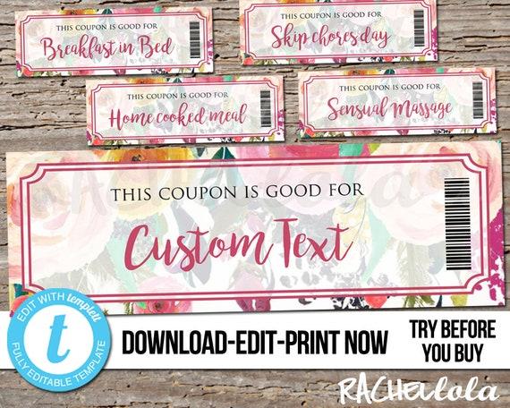 Editable Custom Printable Flower Coupon Template Gift Certificate