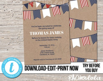 Editable Military going away party invitation template, Retirement, Army, Air force, Boot camp, Printable, Digital Instant download Templett