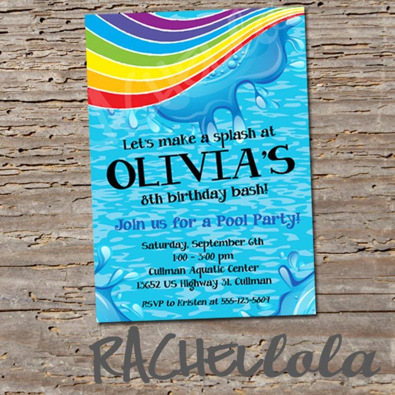Rainbow Pool Party Printable Birthday Invitation Template Swim Swimming Invite Over The Splash Pad Girl Boy Digital Download