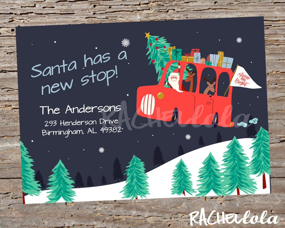 Santa has a new stop Printable Moving announcement Christmas | Etsy