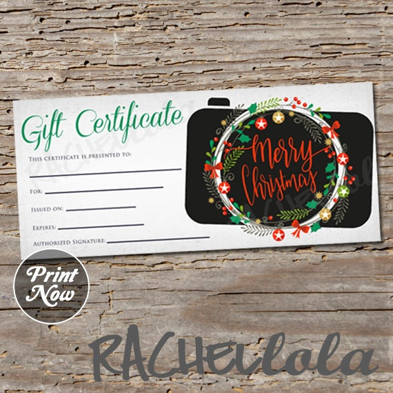 Printable Christmas Photography Gift Certificate Template Wreath