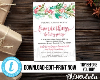 Editable Christmas Favorite things party invitation, Printable template, Holiday gift exchange, Berry, Friends, Digital Download, Templett