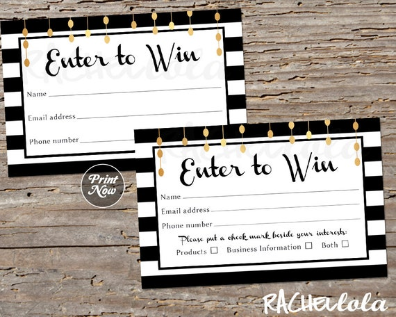 Raffle Card Printable Prize Entry Ticket Win Form Black And White