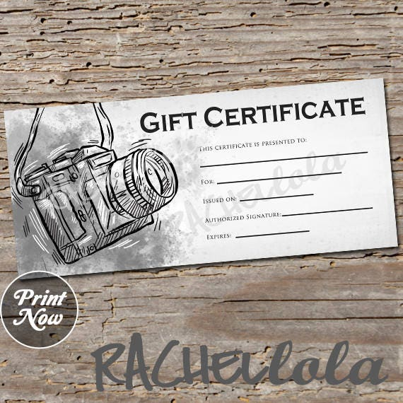 Black And White Camera Printable Gift Certificate Template Etsy