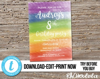 Editable Rainbow Art Birthday party invitation, Printable template, Paint invite, Digital instant download, Messy, Watercolor, Girl Templett