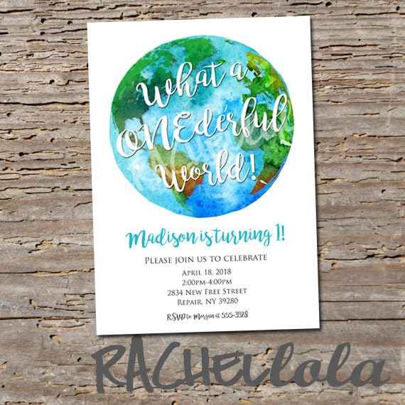 photo relating to Printable Globe Template identified as What a Onederful international birthday social gathering invitation, 1st