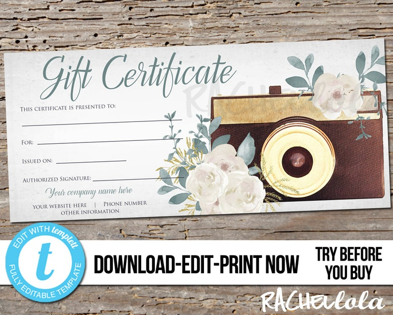 Editable Custom Printable Photography Gift Certificate image 0