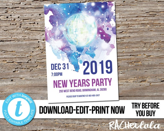 NYE Silver Ball Party Invitation