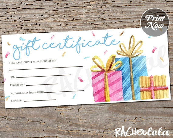 confetti present printable gift certificate template spring
