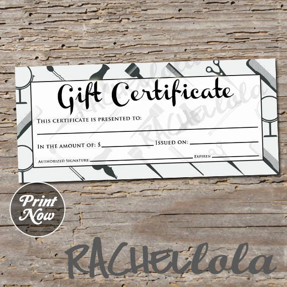 hair salon grey printable gift certificate template spring sales