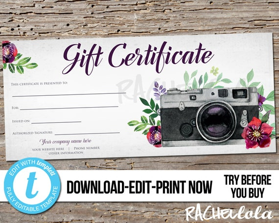 Editable Custom Printable Gift Certificate Template Red Floral