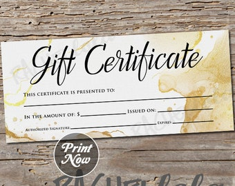 Gold Watercolor Printable Gift Certificate template, Christmas, Birthday, Mothers day, Photography, Hair, Nail, Instant digital download
