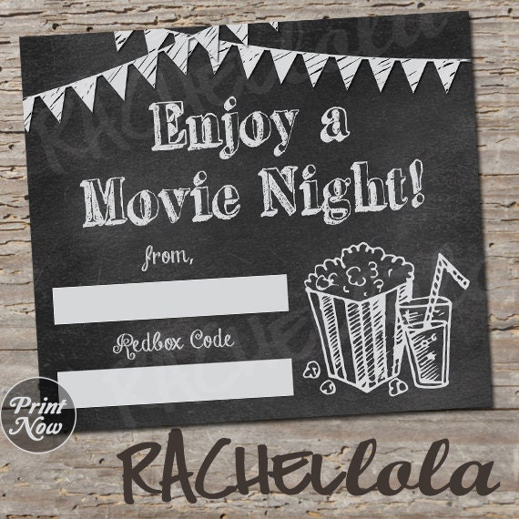 graphic relating to Redbox Printable Tags titled Chalkboard Redbox Code, neighbor online video evening present tag