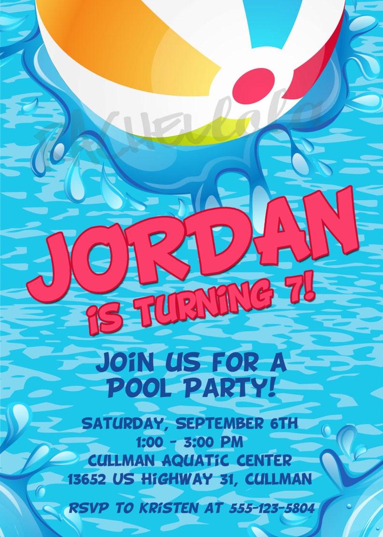 Printable Birthday Pool Party Invitation Template Beach Ball Etsy