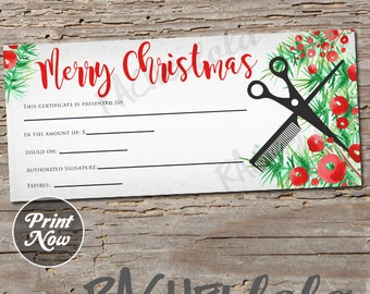 Printable Christmas Hair Salon Gift Certificate template, Hair stylist voucher card, Barber Gift, Instant digital download, Last Minute