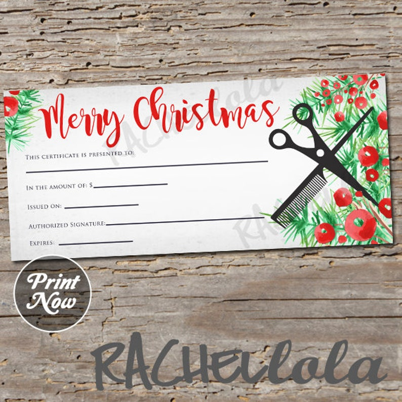 Christmas Hair Salon Printable Gift Certificate Template Hair Etsy