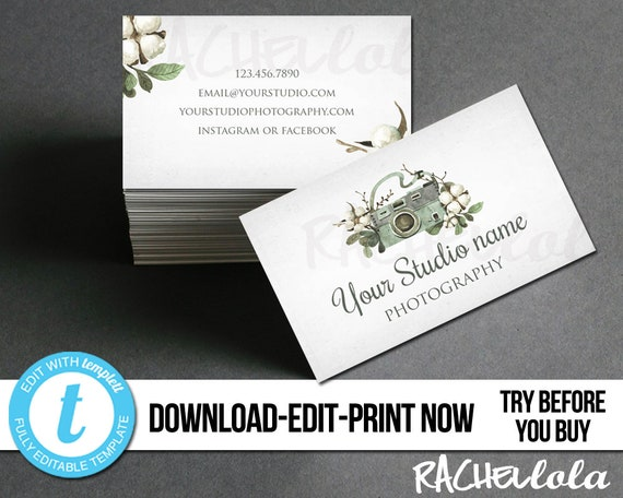 image relating to Camera Template Printable referred to as Editable Pictures small business card template, Tailor made Premade