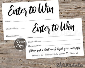 Raffle ticket template, Printable enter to win, Entry form, Door prize giveaway, Essential oil, Event, Party, Business, Instant, Sales