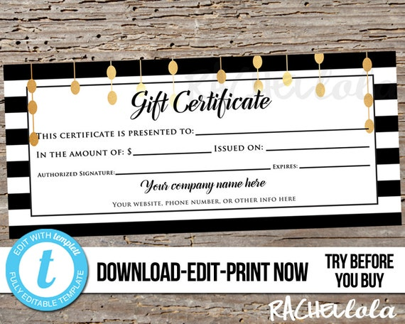 editable custom printable gift certificate template black white
