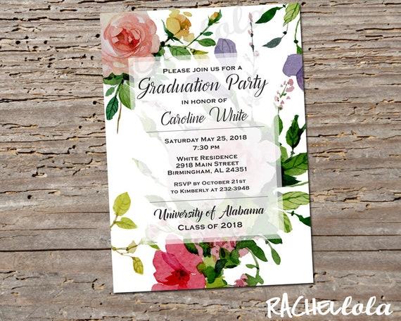 printable spring floral graduation invitation girl college invite