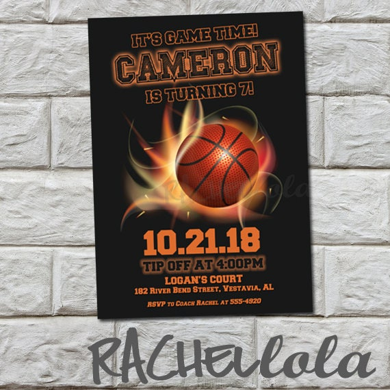 Basketball Fire Birthday Party Invitation Printable