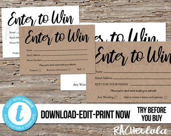Editable Raffle ticket template, Rustic Kraft Printable door prize entry form, Enter to win giveaway, Instant, Business, Templett, Essential