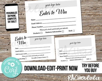 Editable Raffle ticket template, Printable door prize entry form, Enter to win giveaway, Photography, Instant download, Custom, Corjl
