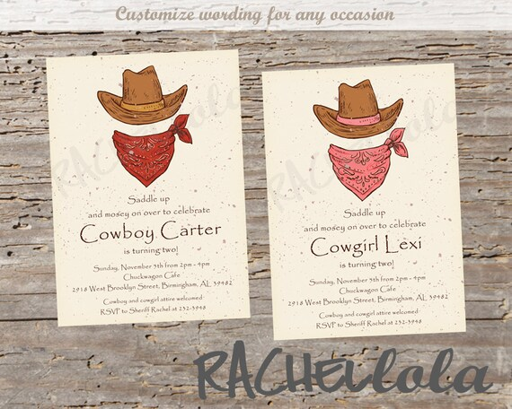 cowboy cowgirl 1st birthday invitation printable pink girl boy
