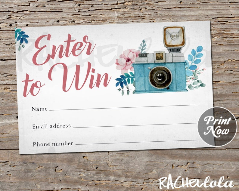 Photography Raffle ticket template, Printable door prize entry form, Enter  to win, Instant download, Free Photo Session giveaway Information