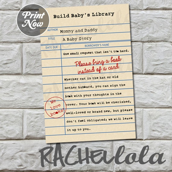 Library card bring a book instead of a card baby shower etsy image 0 filmwisefo