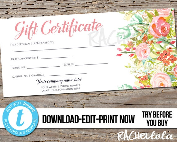 editable custom printable gift certificate template floral rose