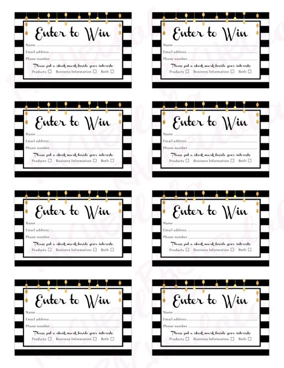 Raffle Card Printable Prize Entry Ticket Win Form Black And Etsy