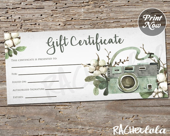 Floral Cotton Camera Printable Gift Certificate Template Etsy