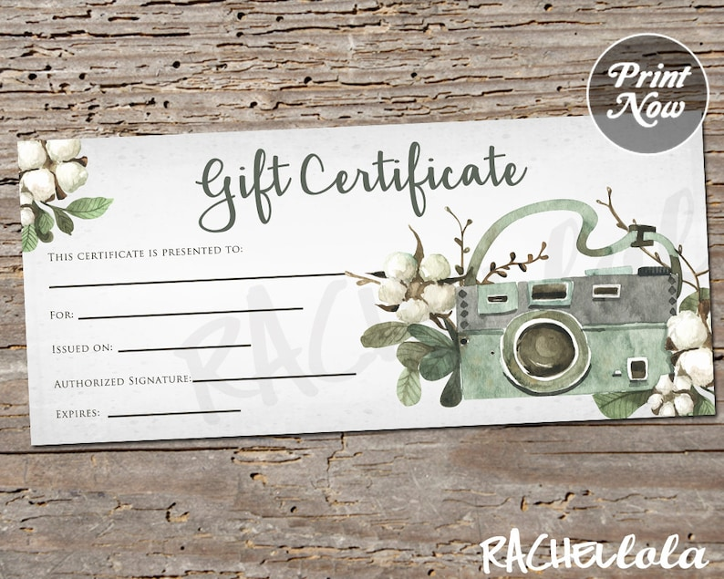 Printable Photography Gift Certificate Template Spring Mini Etsy