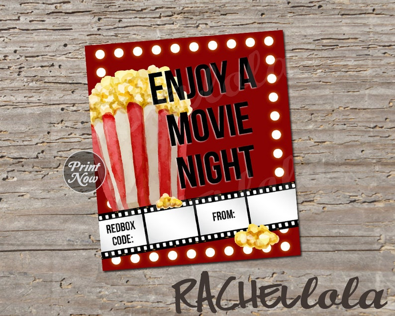 Redbox Code Movie Lights And Popcorn Night Gift Tag