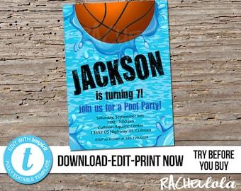 Editable Basketball Pool Party, Birthday Invitation, Printable template, Swim invite, End of season team, Digital instant download Templett