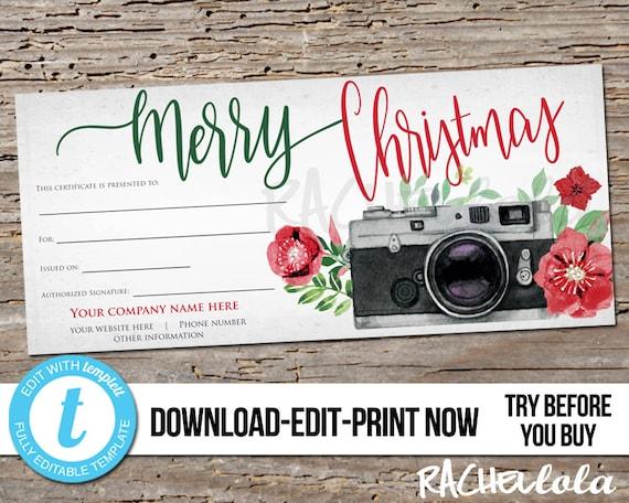 Editable Custom Printable Christmas Gift Certificate Template
