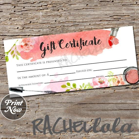 Watercolor Makeup Printable Gift Certificate Template
