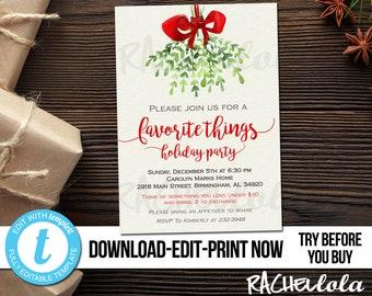 Editable Christmas Favorite things party invitation, Printable template, Holiday gift exchange, Mistletoe, Coed, Digital Download, Templett